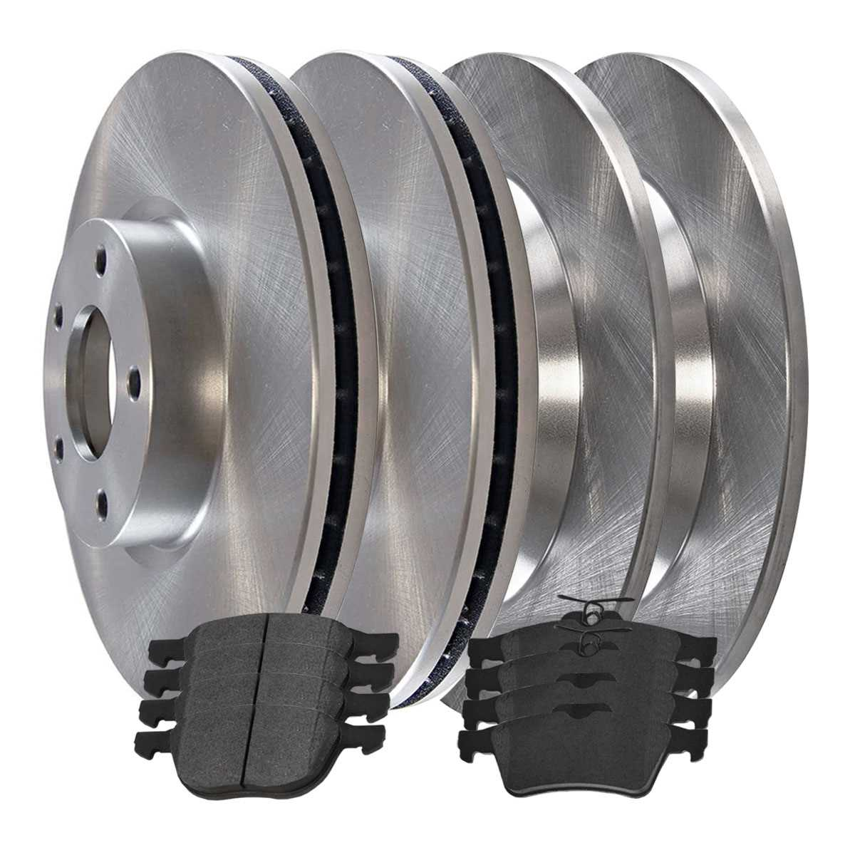 AutoShack SCD10447389 Front and Rear Brake Rotors and Ceramic Pads