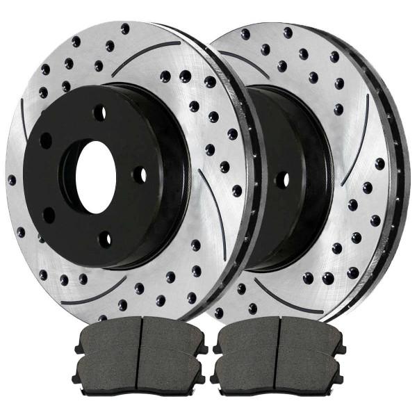 Front Ceramic Brake Pad and Performance Rotor Bundle 12.60 Inch Diameter Solid Rotors - Part # SCD1056-PR63024LR
