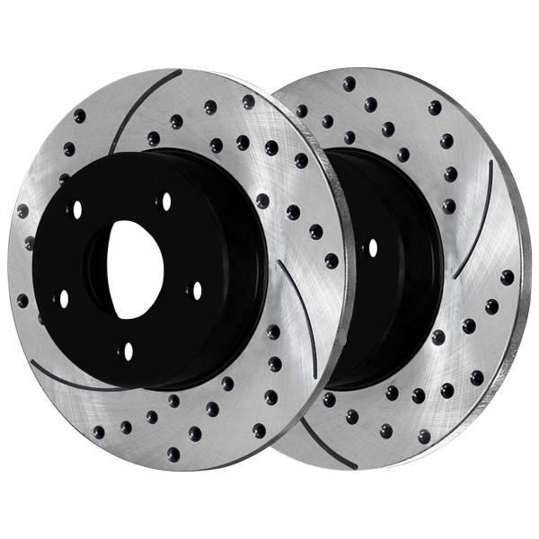 Rear Ceramic Brake Pad and Performance Drilled and Slotted Rotor Bundle Solid Rotors 12.60 Inch Diameter - Part # SCD1057-PR63023
