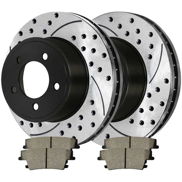 Rear Ceramic Brake Pad and Performance Drilled and Slotted Rotor Bundle Vented Rotors 12.60 Inch Diameter - Part # SCD1057-R63026RL