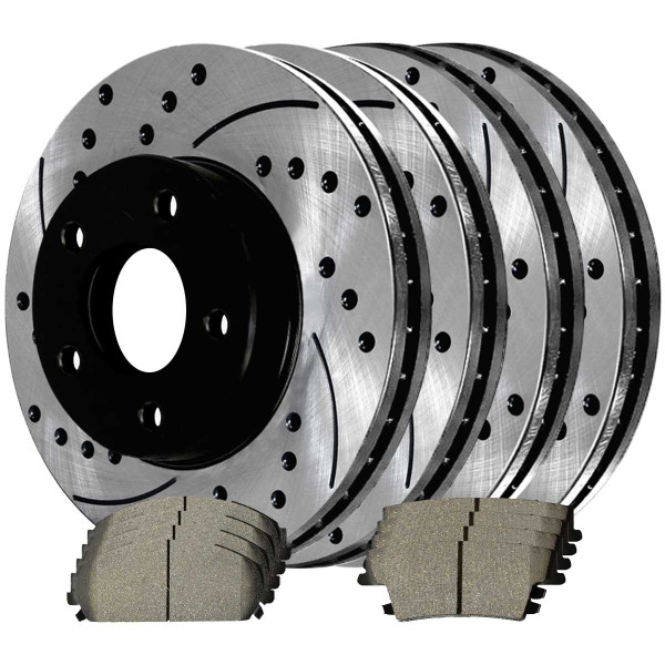 Front and Rear Ceramic Brake Pad and Performance Rotor Bundle 12.60 Inch Diameter Vented Rear Rotors - Part # SCD1057PR63025