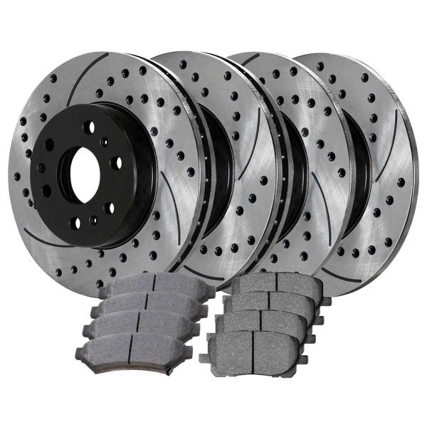 Front and Rear Ceramic Brake Pad and Performance Rotor Bundle - Part # SCD1075PR65120