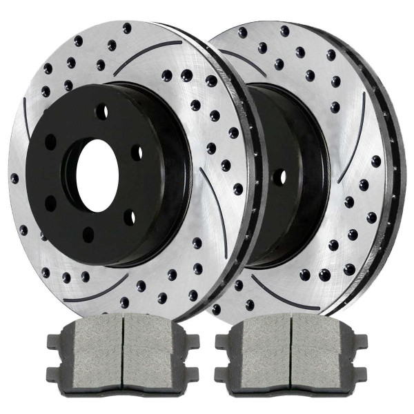 Front Ceramic Brake Pad and Performance Rotor Bundle 6 Stud - Part # SCD1083PR64111