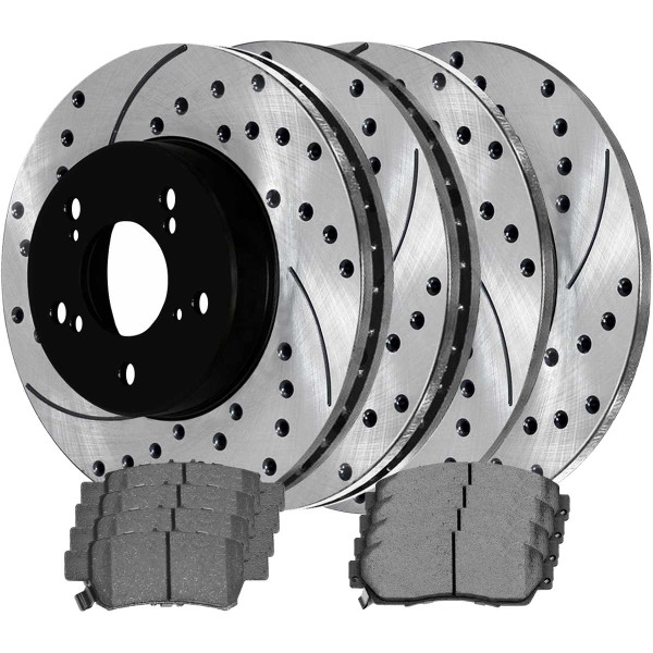 Front and Rear Ceramic Brake Pad and Performance Rotor Bundle - Part # SCD1088PR41370