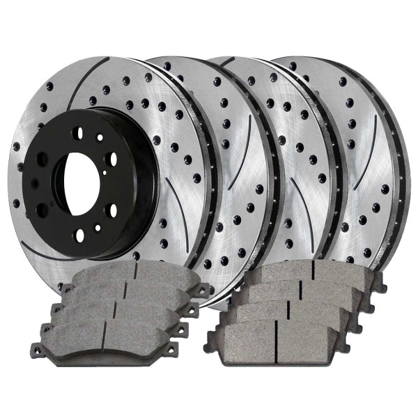 [Front and Rear Set] 4 Performance Brake Rotors and 8 Ceramic Brake Pads - Part # SCD1092PR65099
