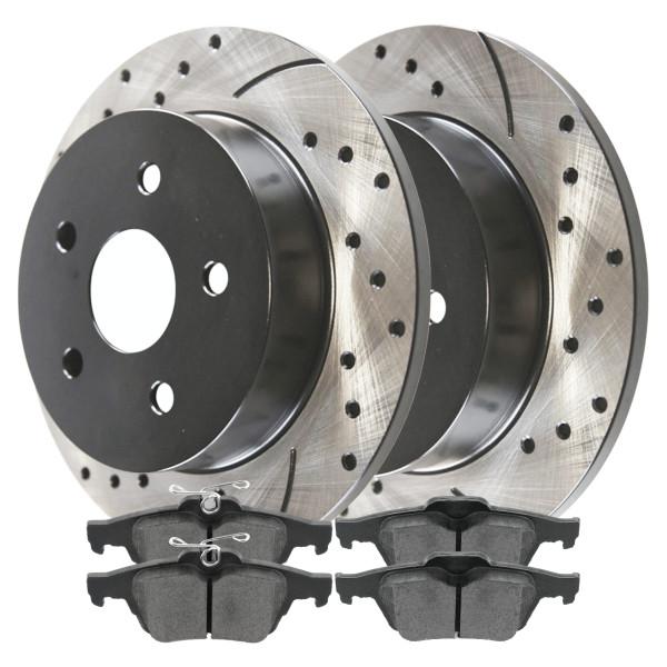 [Rear Set] 2 Drilled & Slotted Performance Brake Rotors & 1 Set Ceramic Brake Pads - Part # SCD1095PR41368