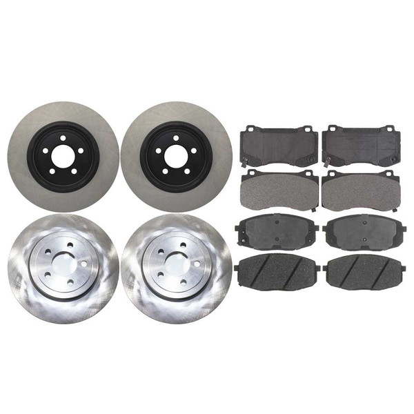 2 Complete Front & Rear Pair 4 Rotors and 8 Ceramic Pads Full Set - Part # SCD11498289