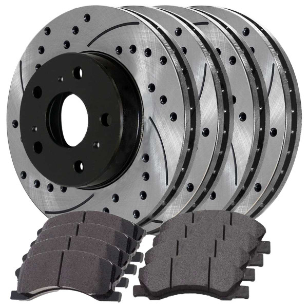 Front and Rear Ceramic Brake Pad and Performance Rotor Bundle - Part # SCD1159-PR65128LR