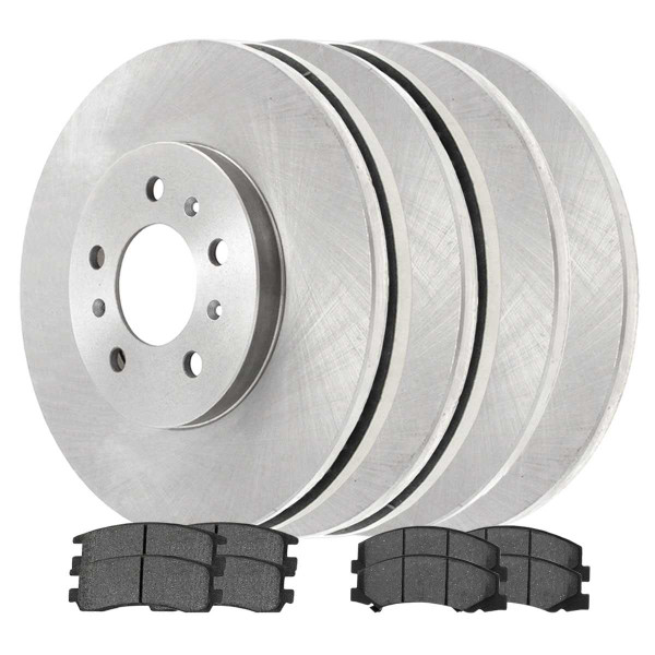 [Front & Rear Set] 4 Brake Rotors & 2 Sets Ceramic Brake Pads - Part # SCD11594516