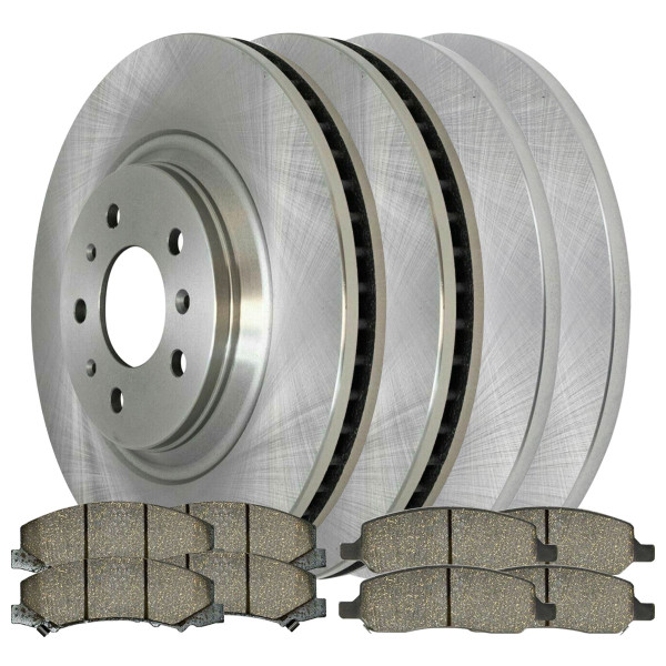 2 Complete Front & Rear Pair 4 Disc Brake Rotors and 8 Ceramic Pads Full Set Kit - Part # SCD11598014