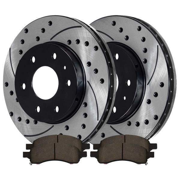 Front Ceramic Brake Pad and Performance Rotor Bundle - Part # SCD1169PR65152