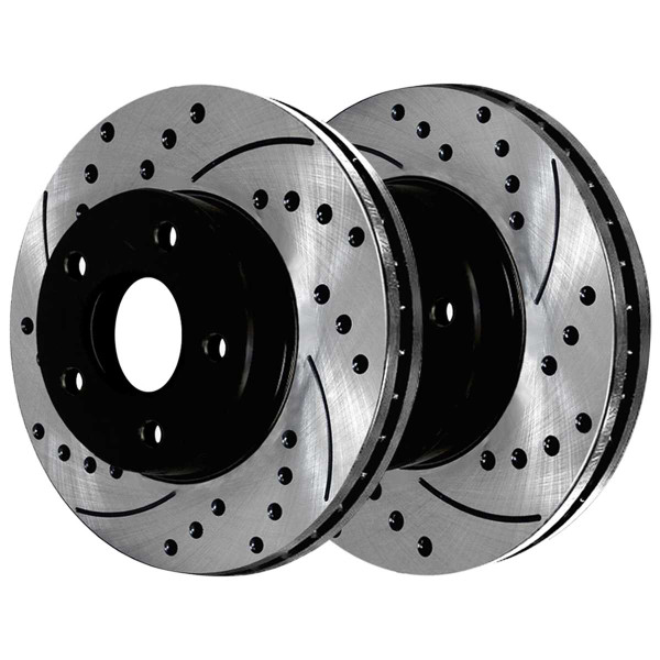 Front and Rear Ceramic Brake Pad and Performance Drilled and Slotted Rotor Bundle - Part # SCD1258PR64127