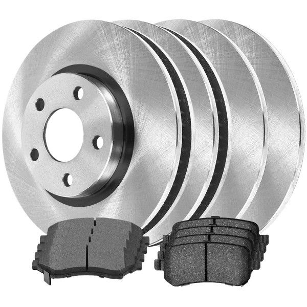Front and Rear Ceramic Brake Pad and Rotor Bundle 11.89 Inch Front Rotor Diameter 12 Inch Rear Rotor Diameter - Part # SCD12737334