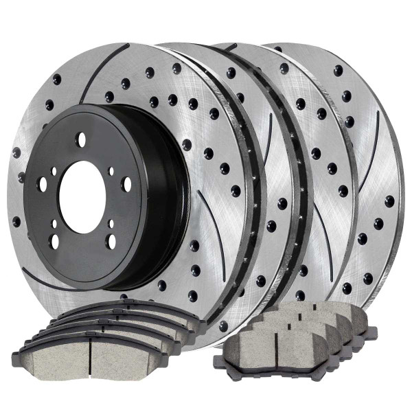 Front and Rear Ceramic Brake Pad and Performance Rotor Bundle - Part # SCD1280PR41470