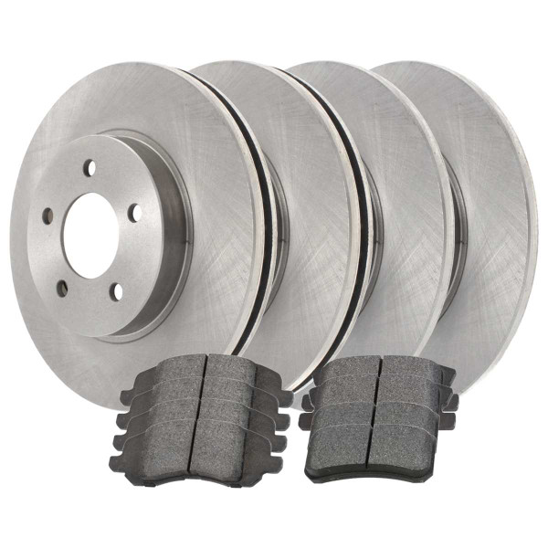 Front and Rear Ceramic Brake Pad and Rotor Bundle 10.313 Inch Rear Rotor Diameter 11.57 Inch Front Rotor Diameter - Part # SCD128563038