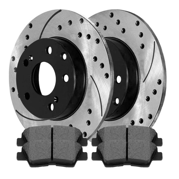 [Rear Set] 2 Drilled & Slotted Performance Brake Rotors & 1 Set Ceramic Brake Pads - Part # SCD1313-PR41588RL