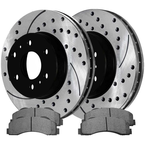 Front Ceramic Brake Pad and Performance Rotor Bundle 6 Stud - Part # SCD1414-PR64155