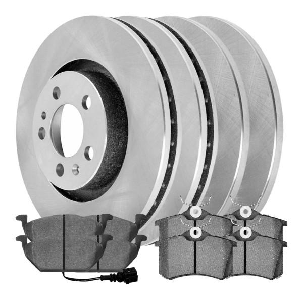 [Front & Rear Set] 4 Brake Rotors & 2 Sets Ceramic Brake Pads - Part # SCD34044145
