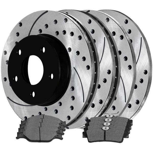 [Front & Rear Set] 4 Drilled & Slotted Performance Brake Rotors & 2 Sets Ceramic Brake Pads - Part # SCD627PR64013