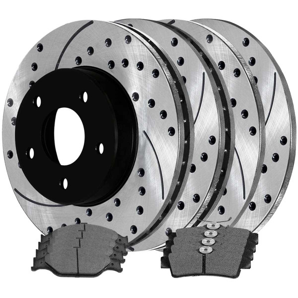 [Front & Rear Set] 4 Drilled & Slotted Performance Brake Rotors & 2 Sets Ceramic Brake Pads - Part # SCD627PR64013