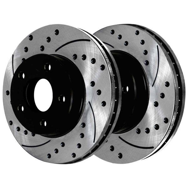 Front and Rear Ceramic Brake Pad and Performance Drilled and Slotted Rotor Bundle - Part # SCD698PR65041