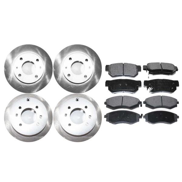 [Front & Rear Set] 4 Brake Rotors & 2 Sets Ceramic Brake Pads - Part # SCD7009148