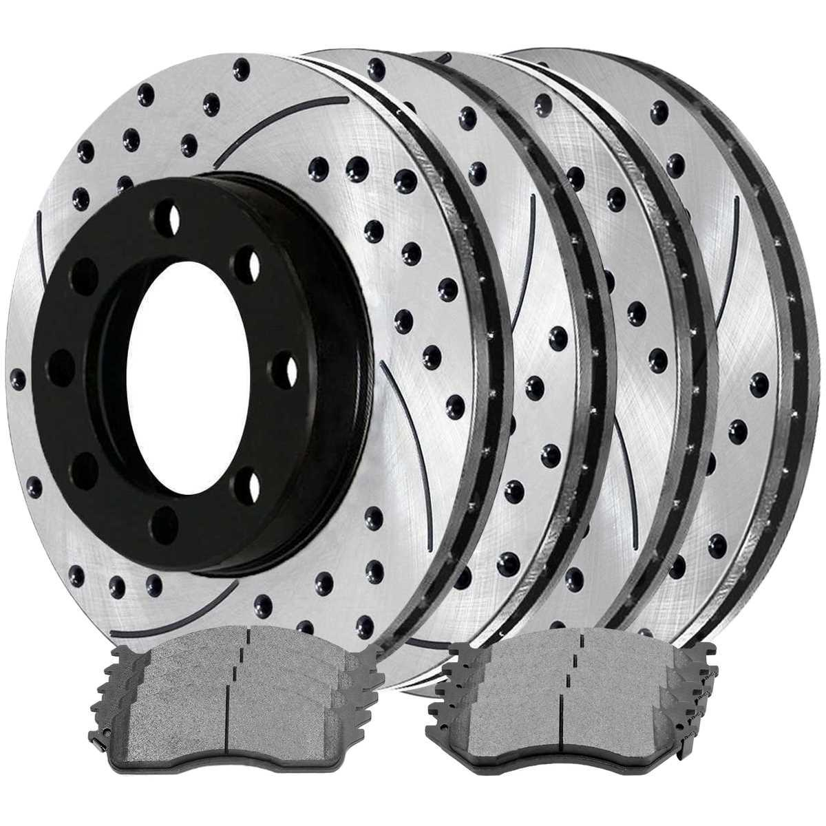 AutoShack SCD702PR63013 Front and Rear Drilled and Slotted Brake Rotors and Ceramic Pads