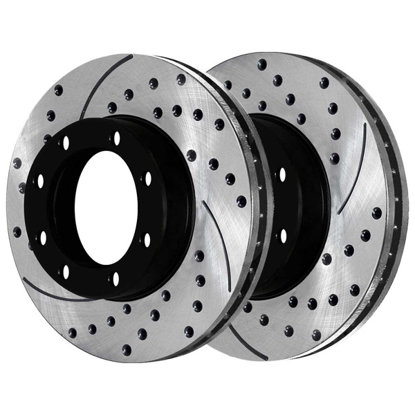 Front and Rear Ceramic Brake Pad and Performance Rotor Bundle 8 Stud - Part # SCD702PR63013