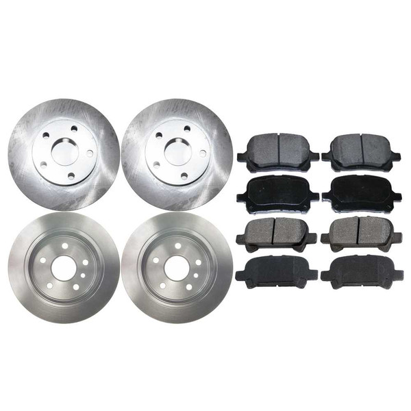 [Front & Rear Set] 4 Brake Rotors & 2 Sets Ceramic Brake Pads - Part # SCD70741052