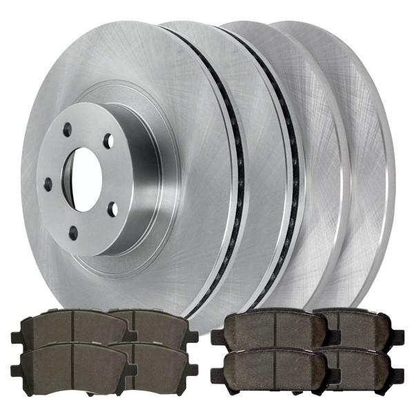 [Front & Rear Set] 4 Brake Rotors & 2 Sets Ceramic Brake Pads - Part # SCD72141045