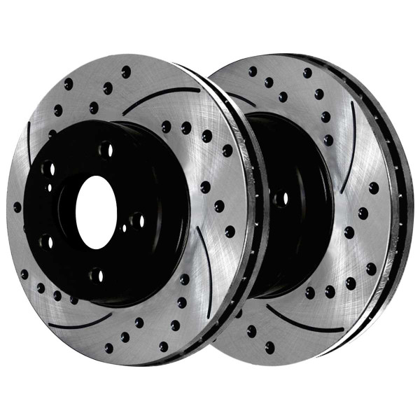 Front and Rear Ceramic Brake Pad and Performance Drilled and Slotted Rotor Bundle - Part # SCD721PR41045