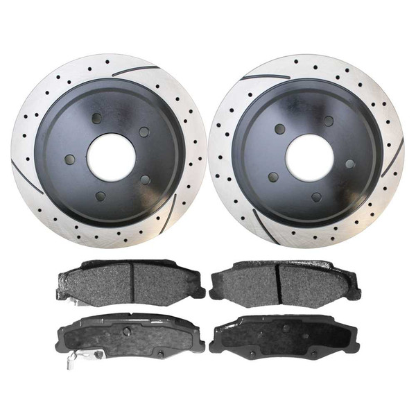 [Rear Set] 2 Drilled & Slotted Performance Brake Rotors & 1 Set Ceramic Brake Pads - Part # SCD732-PR65047LR