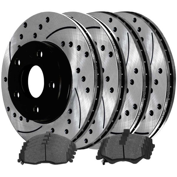 Front and Rear Ceramic Brake Pad and Performance Rotor Bundle - Part # SCD749PR65036