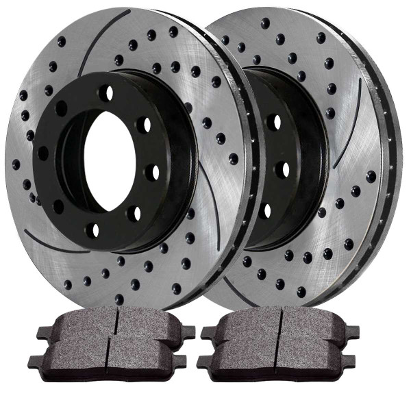 Front and Rear Ceramic Brake Pad and Performance Rotor Bundle 13.03 Inch Front Rotor Diameter - Part # SCD757PR64076