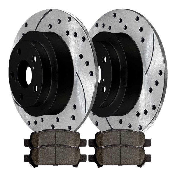 [Rear Set] 2 Drilled & Slotted Performance Brake Rotors & 1 Set Ceramic Brake Pads - Part # SCD770PR41045