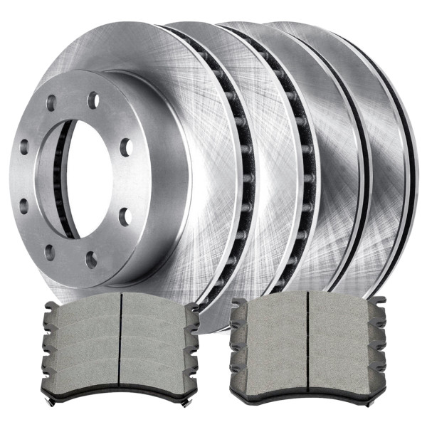2 Complete Front & Rear Pair 4 Disc Brake Rotors and 8 Ceramic Pads Full Set Kit - Part # SCD78465058