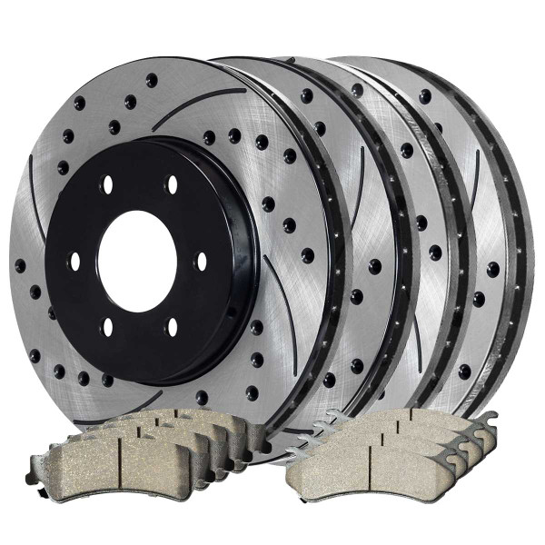 Front and Rear Ceramic Brake Pad and Performance Rotor Bundle 325mm Rotor Diameter 85mm Height - Part # SCD785PR65068