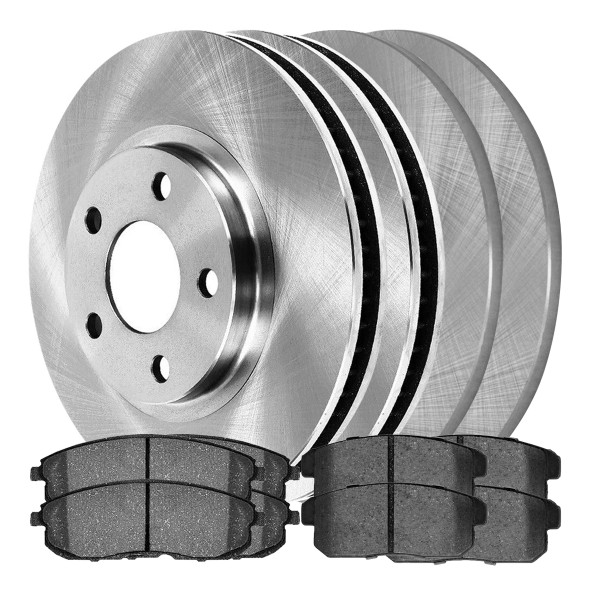 [Front & Rear Set] 4 Brake Rotors & 2 Sets Ceramic Brake Pads - Part # SCD815A1526