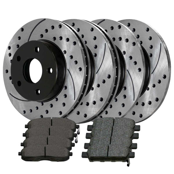[Front & Rear Set] 4 Drilled & Slotted Performance Brake Rotors & 2 Sets Ceramic Brake Pads - Part # SCD815PR14308