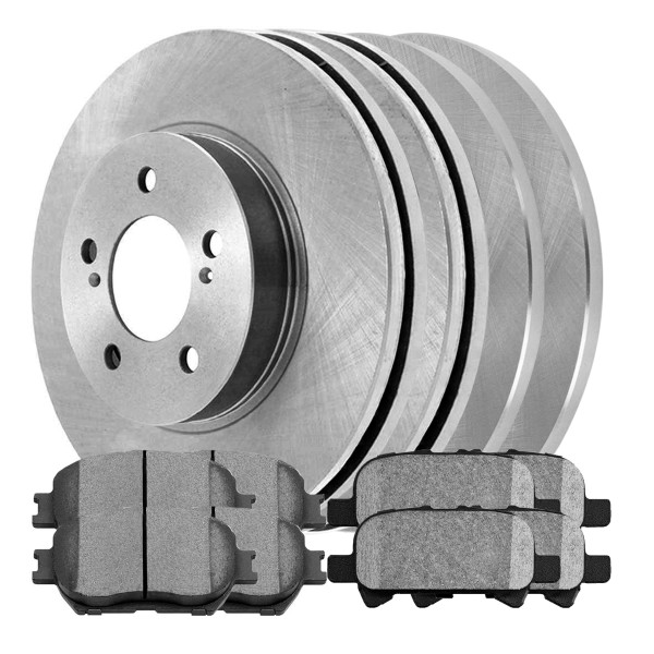 [Front & Rear Set] 4 Brake Rotors & 2 Sets Ceramic Brake Pads - Part # SCD82841052