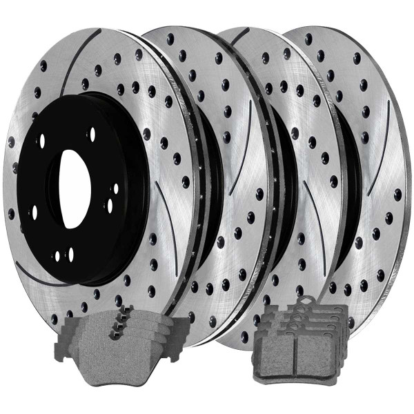 Front and Rear Ceramic Brake Pad and Performance Rotor Bundle - Part # SCD853PR44102