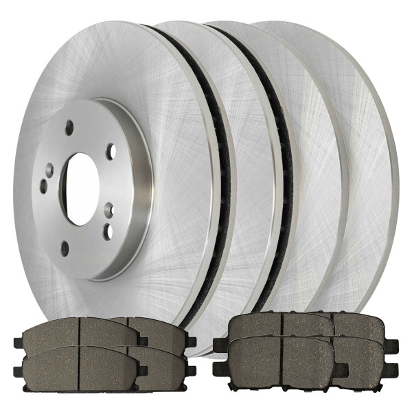 [Front & Rear Set] 4 Brake Rotors & 2 Sets Ceramic Brake Pads - Part # SCD8555943