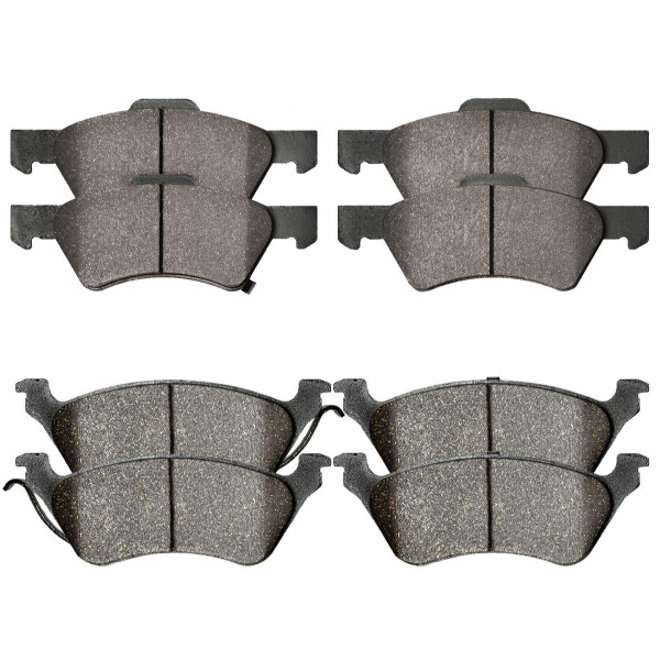 Front and Rear Ceramic Brake Pad Bundle 4 Wheel Disc - Part # SCD857-858