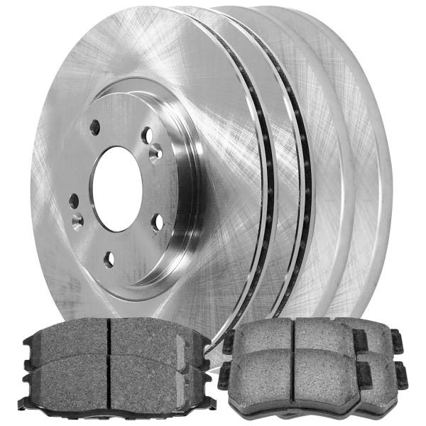 [Front & Rear Set] 4 Brake Rotors & 2 Sets Ceramic Brake Pads - Part # SCD8643672