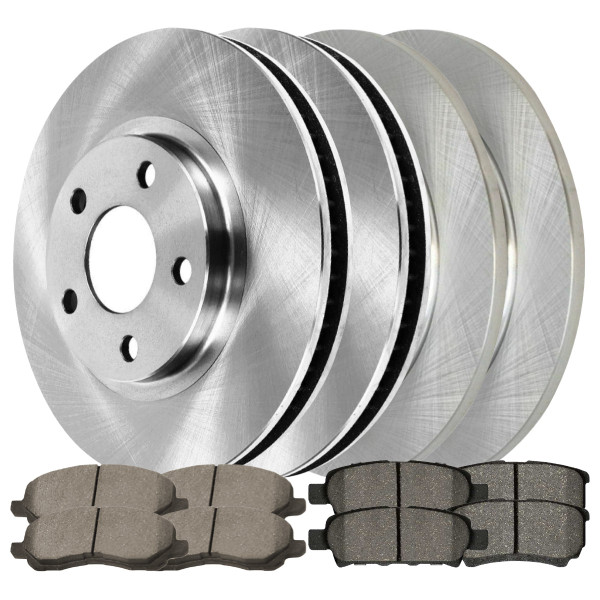 [Front & Rear Set] 4 Brake Rotors & 2 Sets Ceramic Brake Pads - Part # SCD86663038