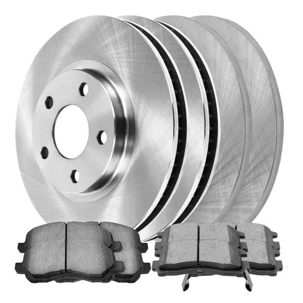 [Front & Rear Set] 4 Brake Rotors & 2 Sets Ceramic Brake Pads - Part # SCD8666552