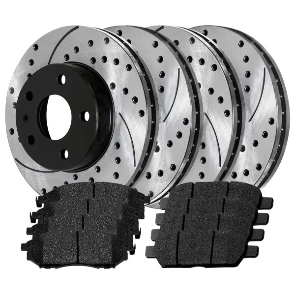 Front and Rear Ceramic Brake Pad and Performance Rotor Bundle - Part # SCD905-PR41389LR