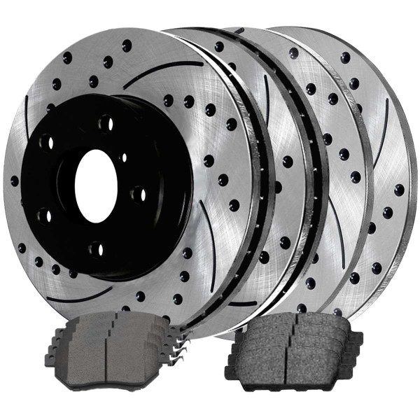 Front and Rear Ceramic Brake Pad and Performance Rotor Bundle - Part # SCD905PR41314