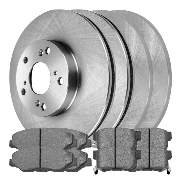 Front Rear Set Disc Brake Rotors and Ceramic Pads Kit for 03-09 Honda Element - Part # SCD9143346