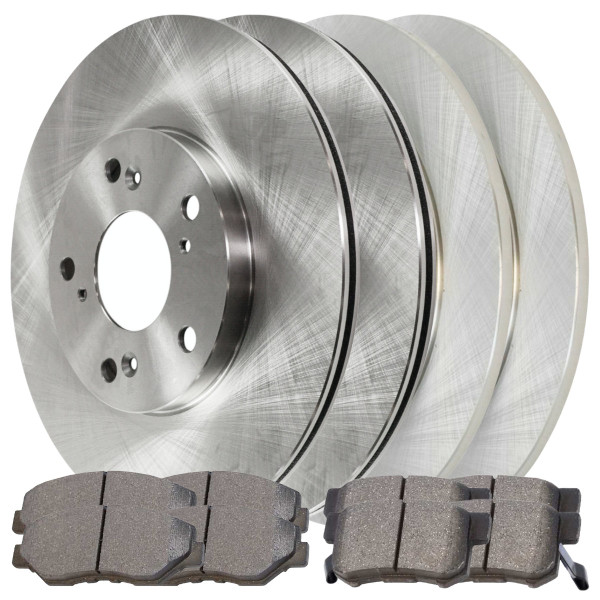 [Front & Rear Set] 4 Brake Rotors & 2 Sets Ceramic Brake Pads - Part # SCD9146738